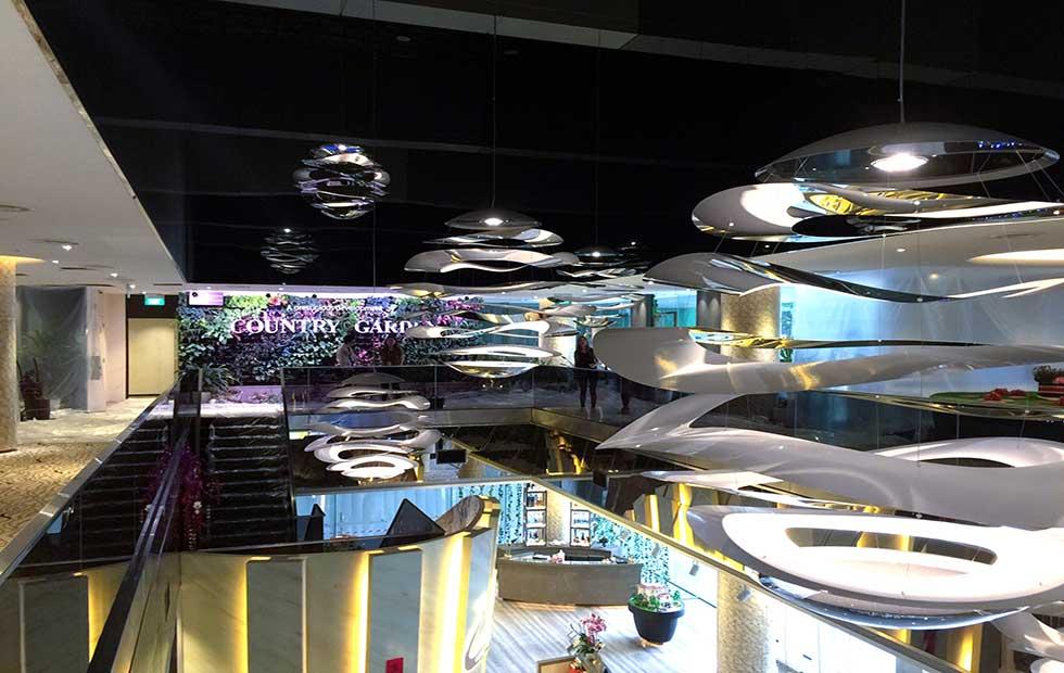 Slider Buckle Installations in Country Garden Showroom, Pendant Lights, Innermost
