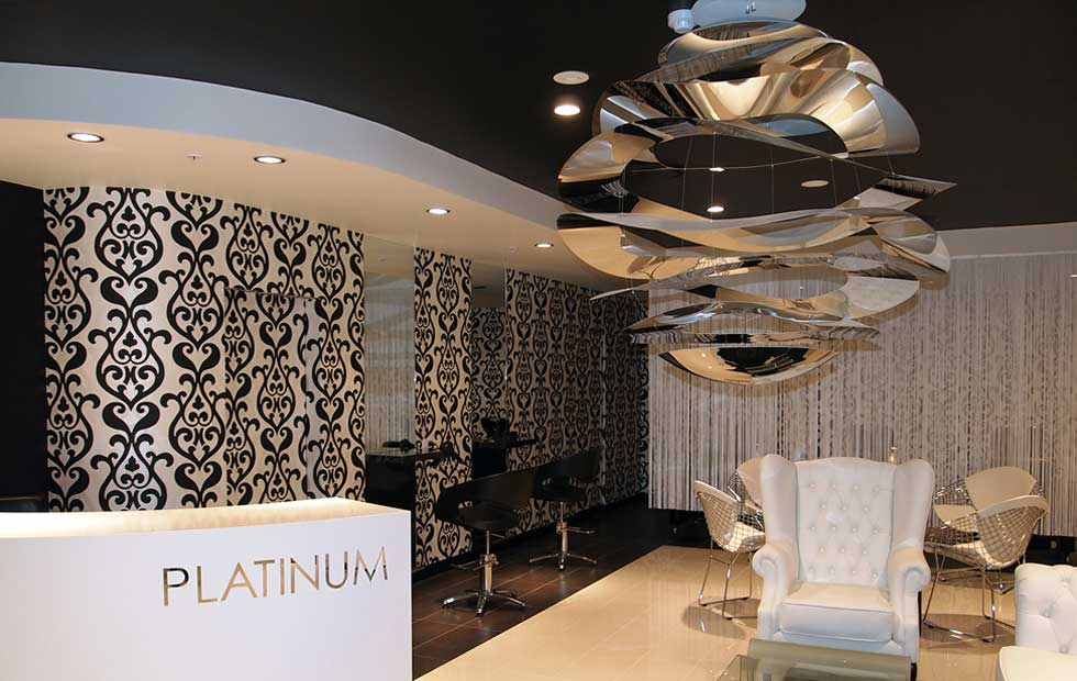 Slider Buckle reflections in reception area, Pendant Lights, Innermost