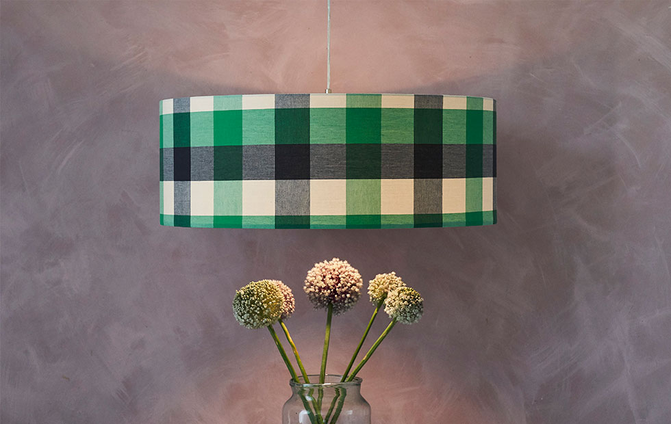 bespoke big check lamp shade in green