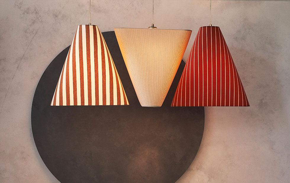 bespoke creation baumann striped lamp shades in white and burnt orange