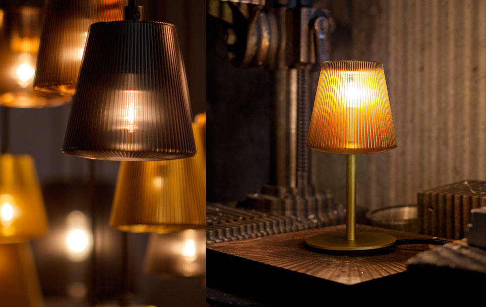 Bramah Pendants and Table Lamp