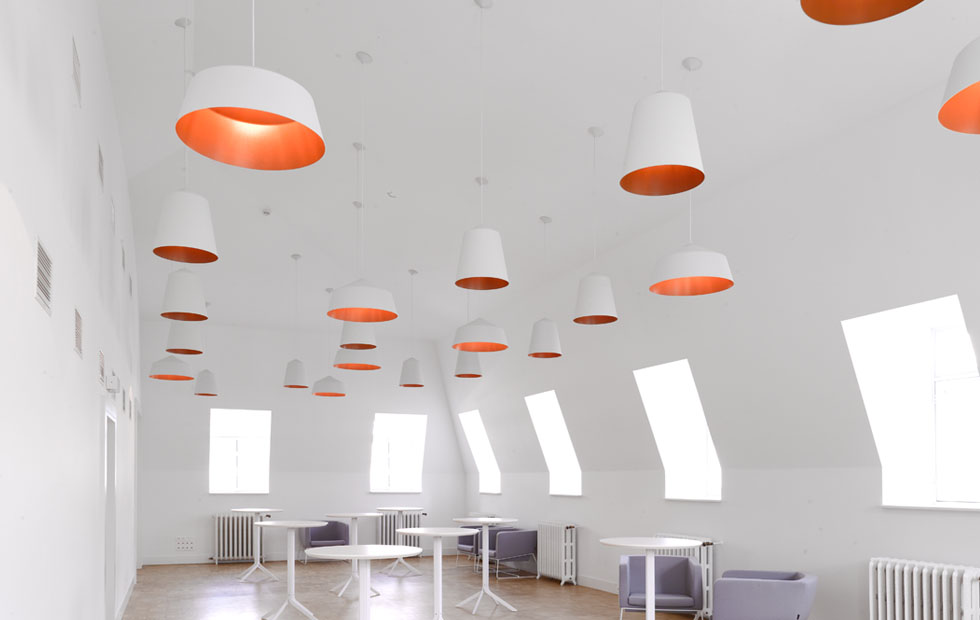Slider Circus White Pendant Lights, Circus Installatuion in Meeting Rooms at Muntpunt Library