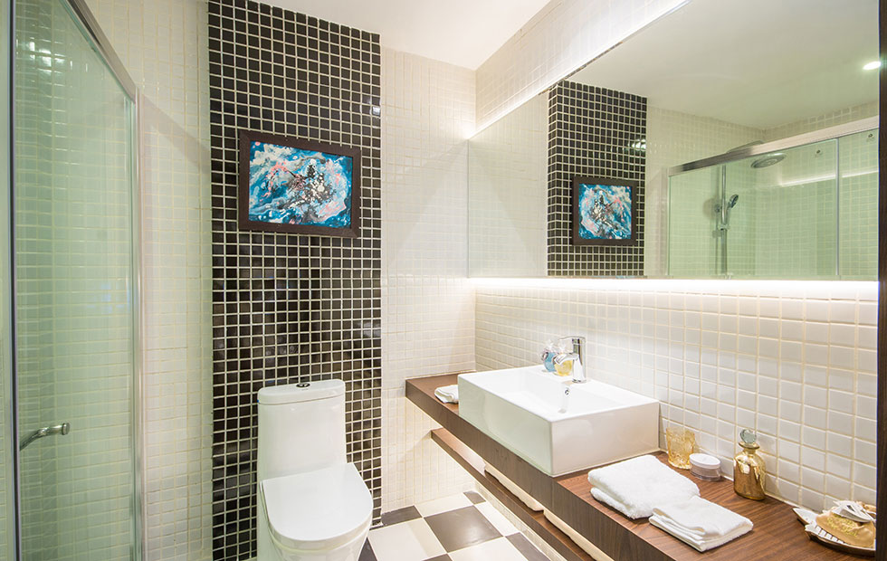 Slider Bathroom Lighting with IP65 Cabled LED Strips at Le Grand-Hotel