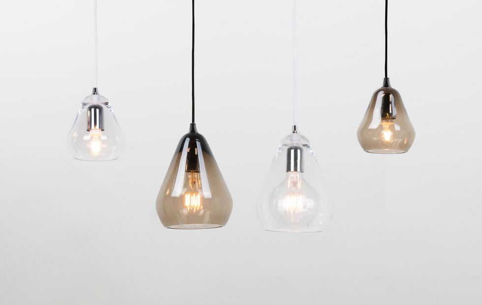 Slider Small and Large, Smoked and Clear Pendants with retro LED filament bulbs