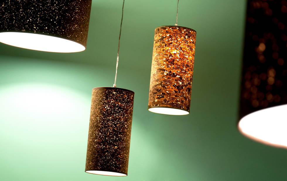 Slider Cork Lampshade, Innermost Natural and Smoke finishes Pendants