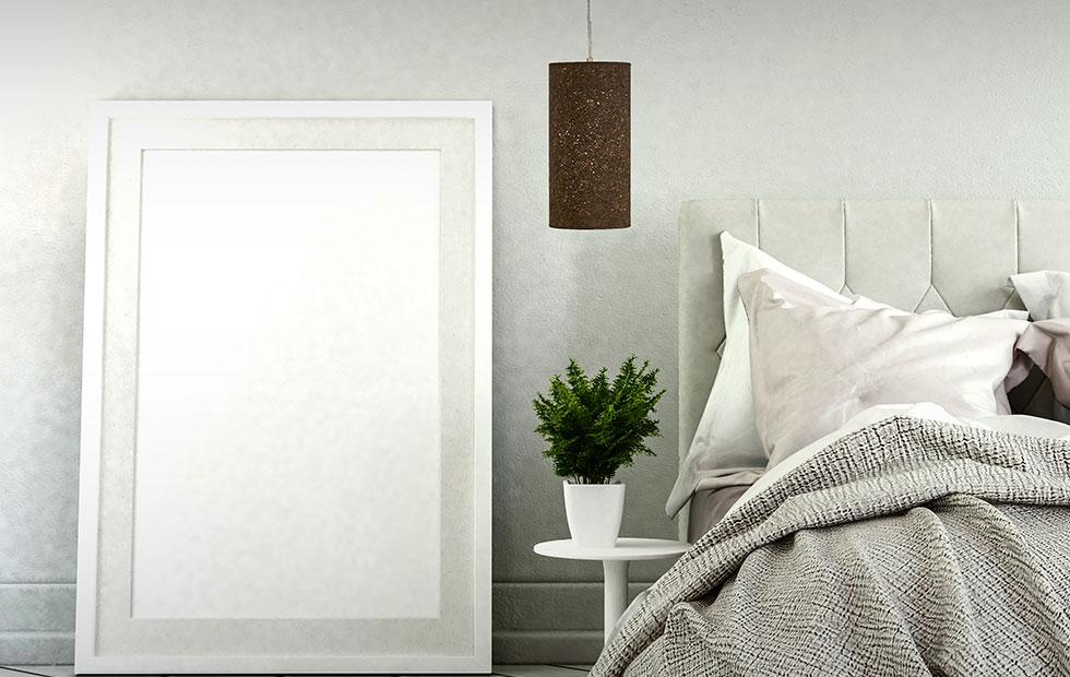 bespoke calk lamp shade above bedroom setting
