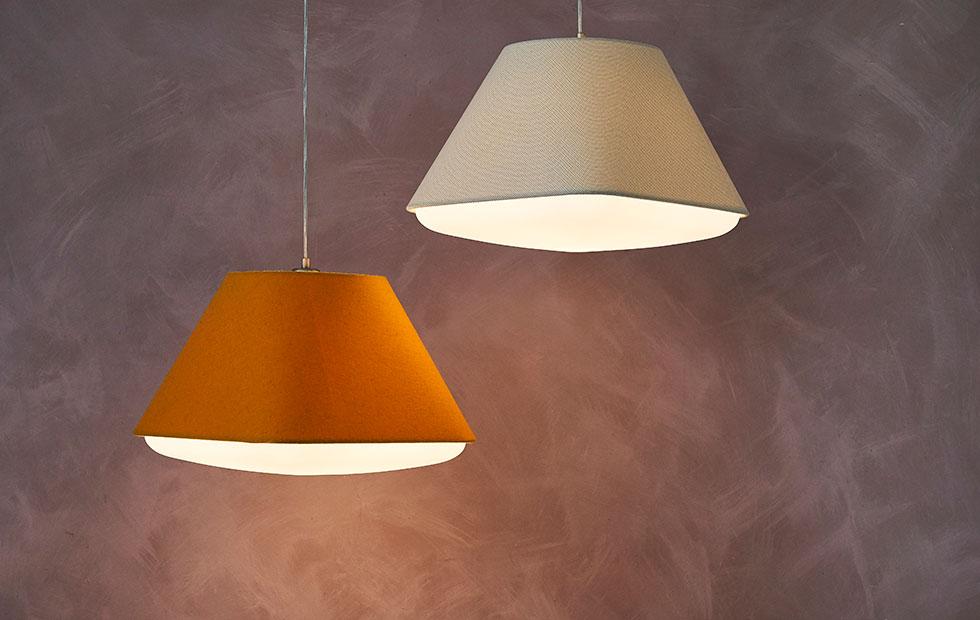 bespoke creation lamp shades in baumann white and wenlock orange