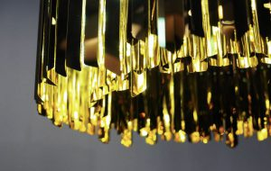 Slider Facet Brass, Innermost Brass Chandelier Detail