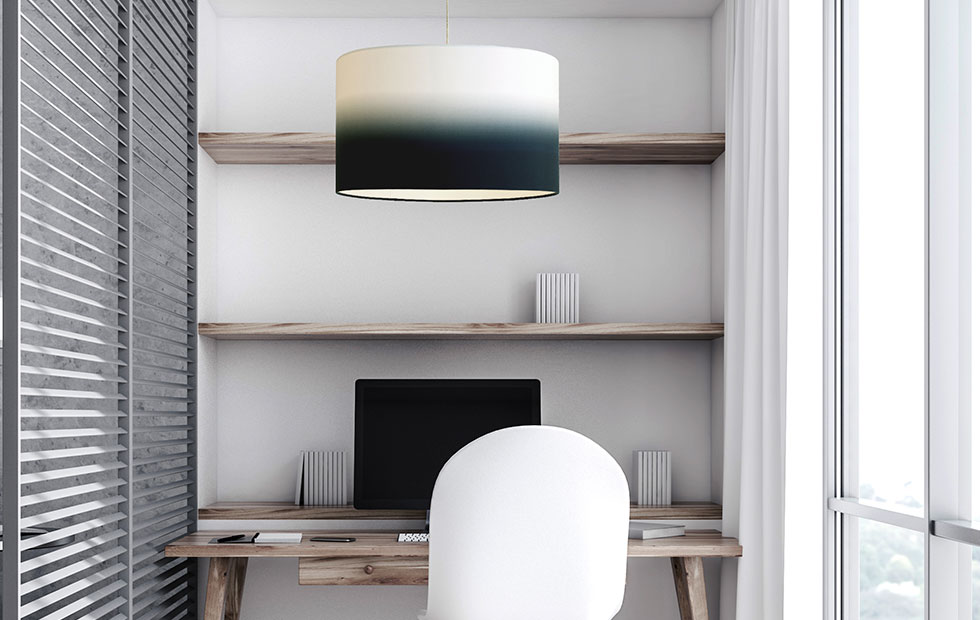 bespoke fade midnight lamp shade above work desk
