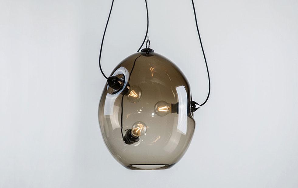 Slider Membrane, Three LED Filament Bulbs, Innermost Glass Pendant
