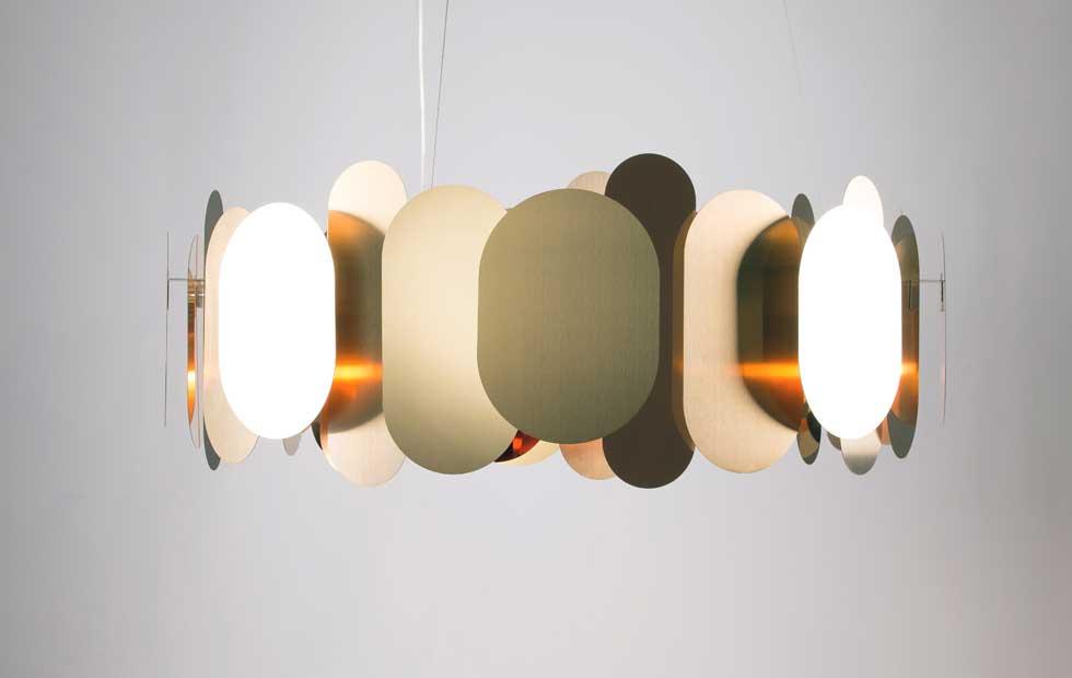 Slider Innermost Pendants, Panel in Brass
