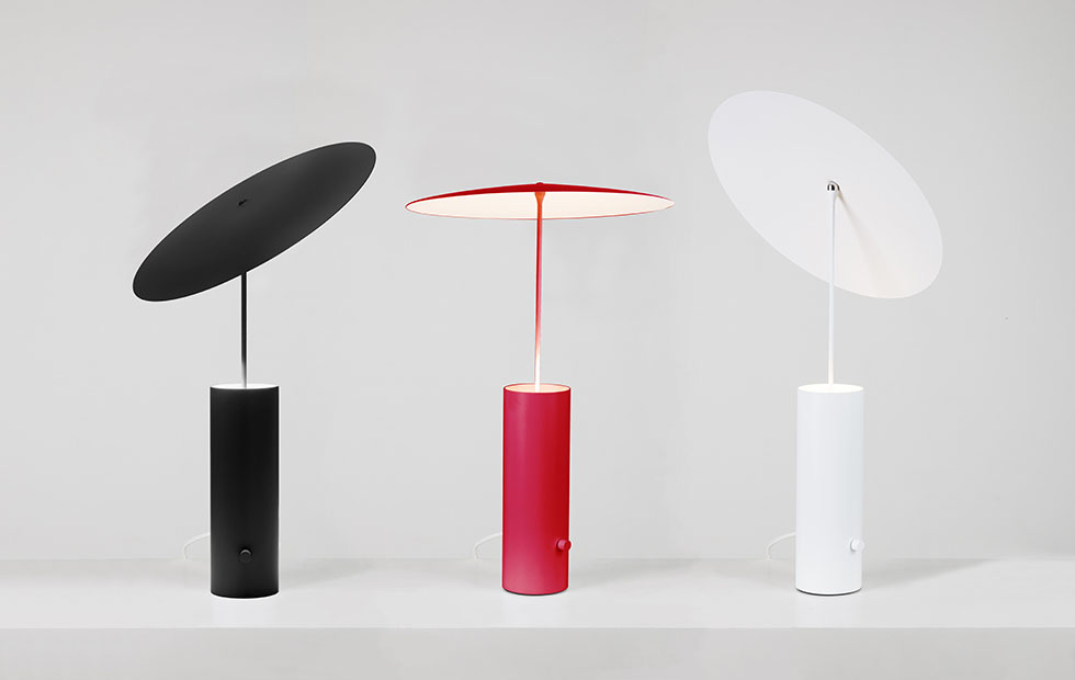 Slider Innermost Pendants, Parasol trio web in Black, Red and White