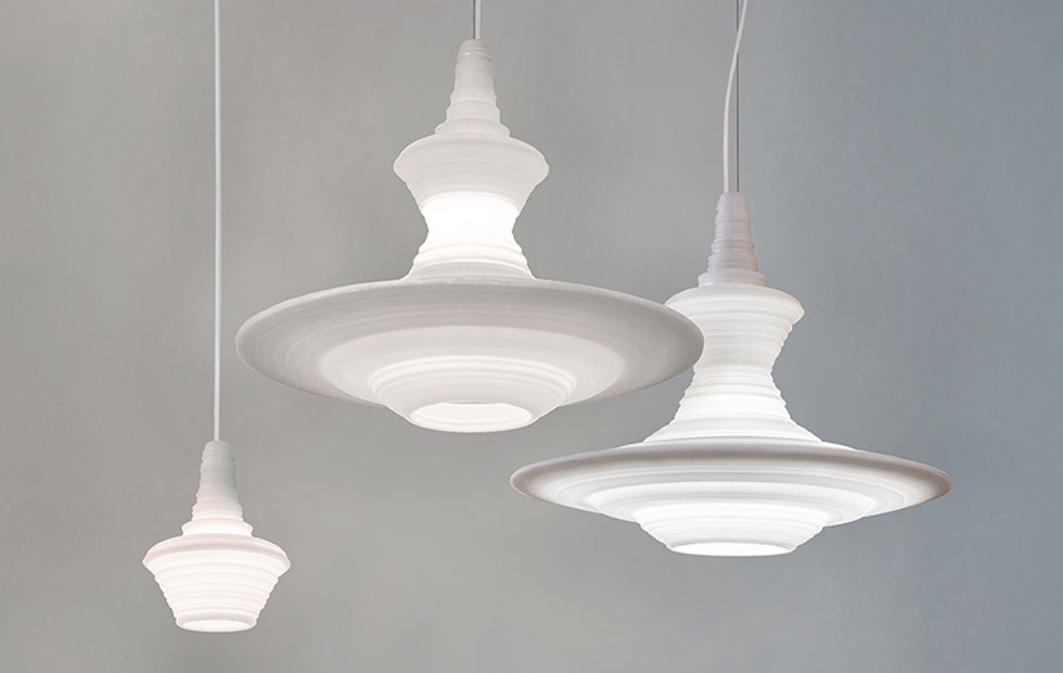 Slider Innermost Stupa Pendant Lights in White
