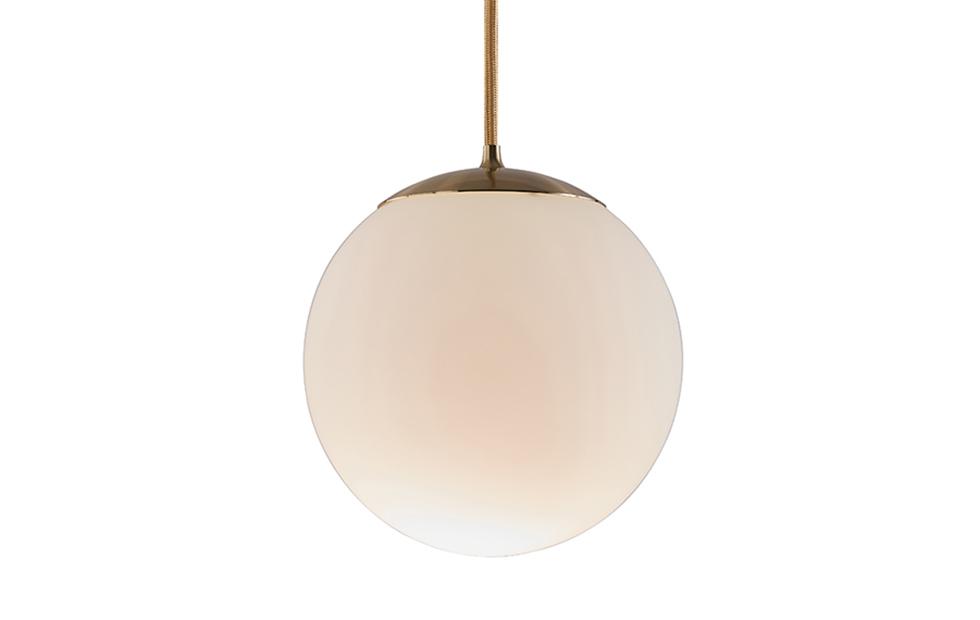 brass and opal moon globe pendant light