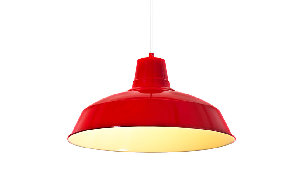 foundry red aluminium lamp shade