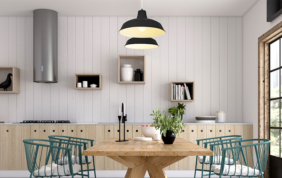 foundry black aluminium lamp shade in dining room