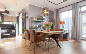 membrane glass pendant chandelier above a dining table germany kreativ haus