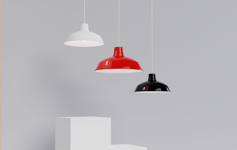 foundry red black and white aluminium lamp shades