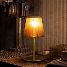 bramah table lamp gold on side table