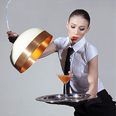 glaze 56 copper and cream lamp with waitress and cocktail