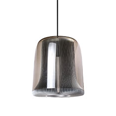 dub large pendant lamp silver with smoked glass