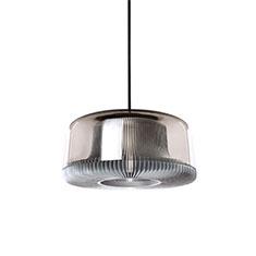 dub medium pendant lamp silver with smoked glass