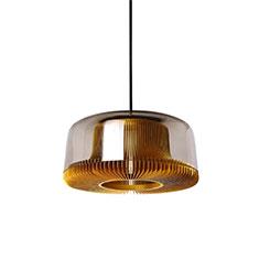 dub medium pendant lamp gold with smoked glass