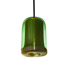 dub small pendant lamp pale gold with green glass