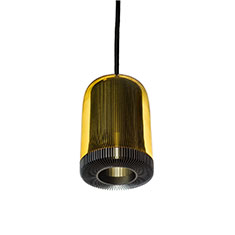 dub small pendant lamp grey with amber glass