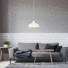 foundry white aluminium lamp shade in a living room