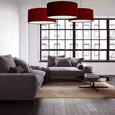 kobe red lampshade at private residence