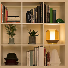lateralis table lamp on shelf