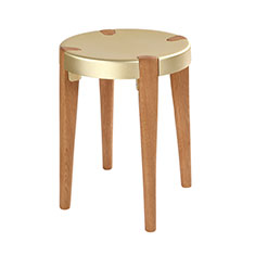 otto stool in pale gold and oak