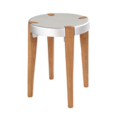otto stool in silver and oak