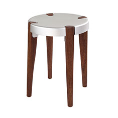 otto stool in silver and walnut