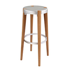 otto tall stool in silver and oak