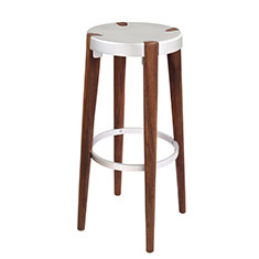 otto tall stool in silver and walnut