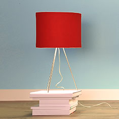 kobe red lampshade with tripod on books