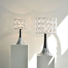 chrome trumpet bases with a lighthouse shades