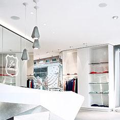 portland concrete and white pendant at la chemise fashion boutique