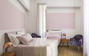 brixton spot pendant lights in copper in bedroom