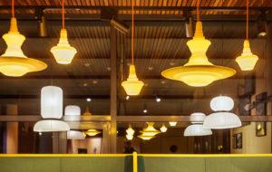warm yellow stupa pendant resin light range