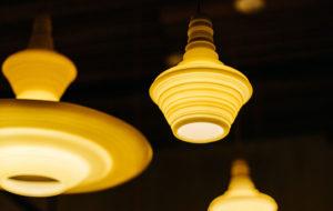 warm yellow stupa pendant resin light