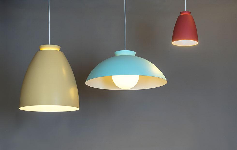 chelsea aluminium pendant lights in nude mint and terracotta