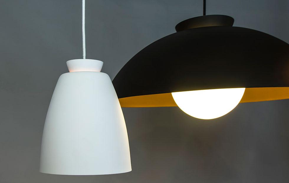 chelsea aluminium pendant lights in black and white closeup