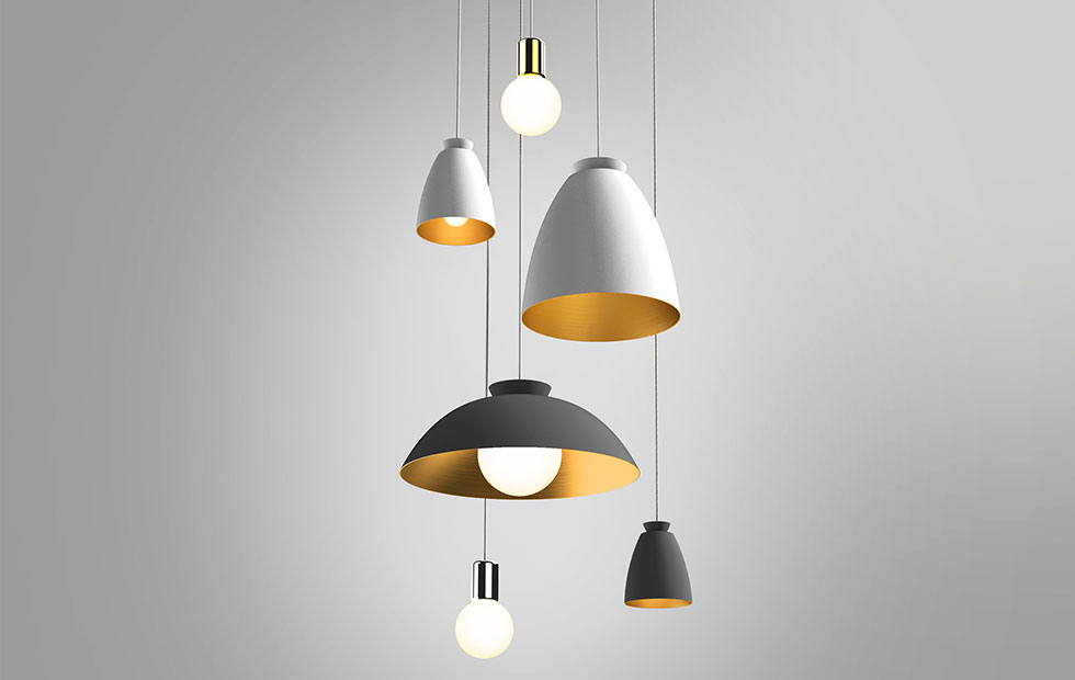 chelsea aluminium pendant lights in black and white with purl drop led range
