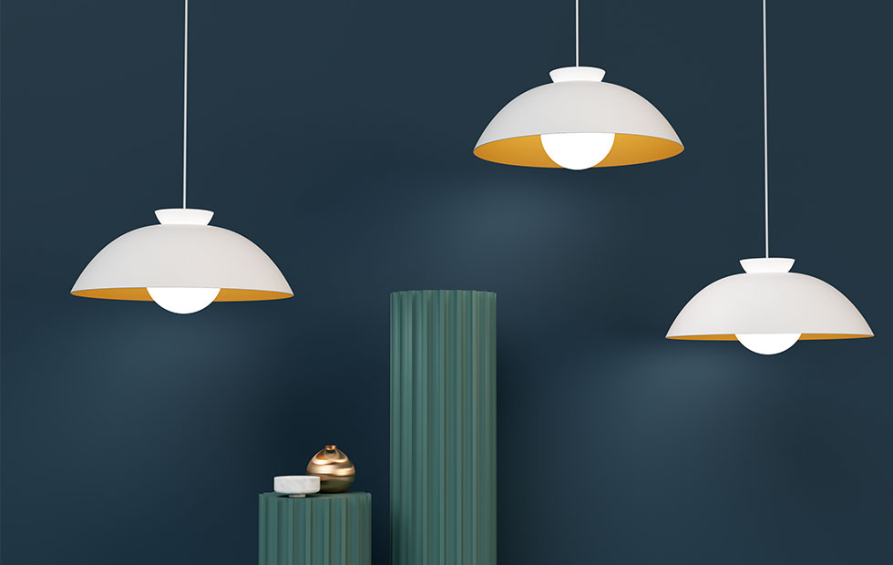 chlelsea aluminium pendant lights in white-with-decorative-tables