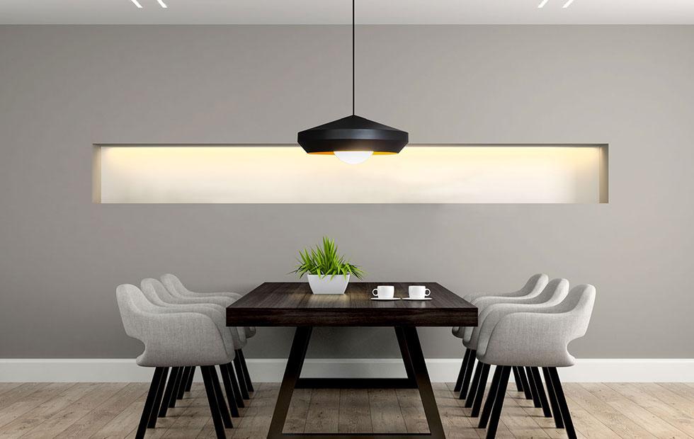 hoxton black aluminium pendant light over indoor seating area