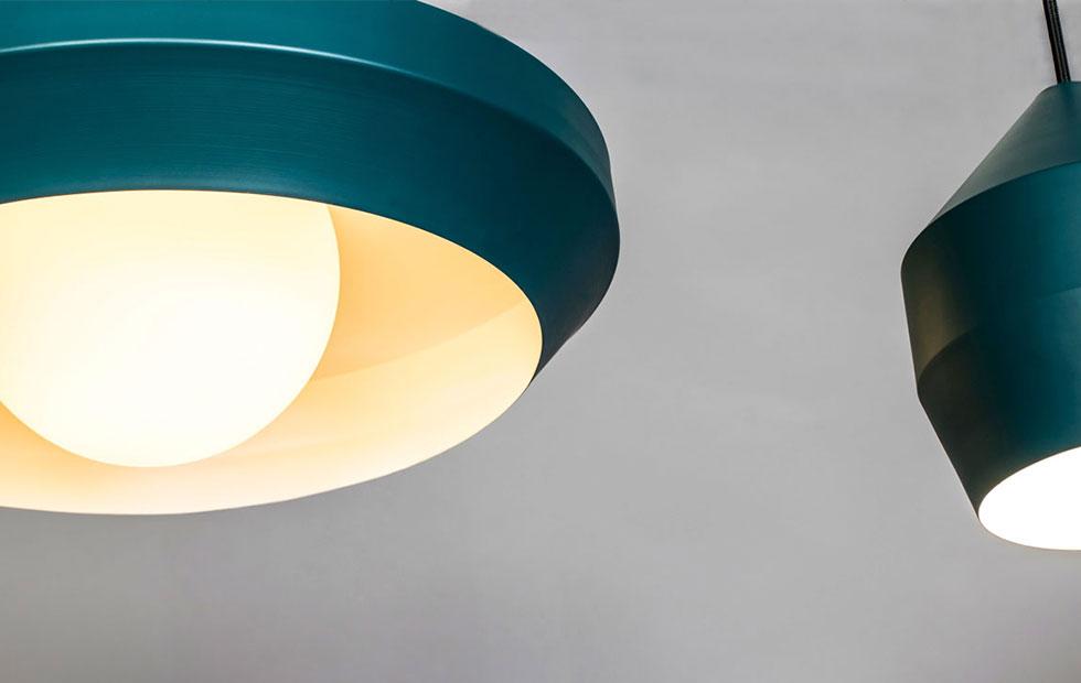 hoxton dark teal aluminium pendant light