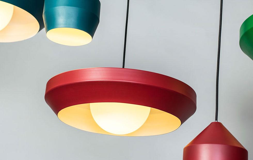 hoxton aluminium pendant light colour range red closeup